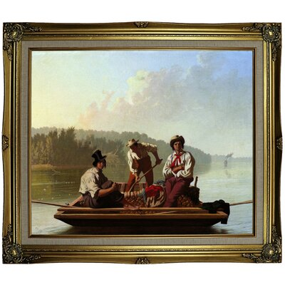 'Boatmen on the Missouri 1846' Framed Oil Painting Print on Canvas Format: Coral Framed, Size: 25.25'' H x 29.25'' W x 1.5'' D