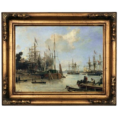 'Harbour ' Framed Oil Painting Print on Canvas Format: Gold Frame, Size: 16.5