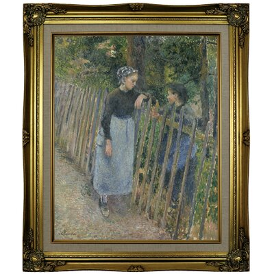 'Conversation 1881' by Camille Pissarro Framed Oil Painting Print on Canvas Format: Light Brown Framed, Size: 25.25'' H x 21.25'' W x 1.5'' D