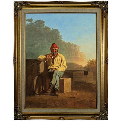 'Mississippi Boatman 1850' Framed Oil Painting Print on Canvas Format: Gold Framed, Size: 29.25