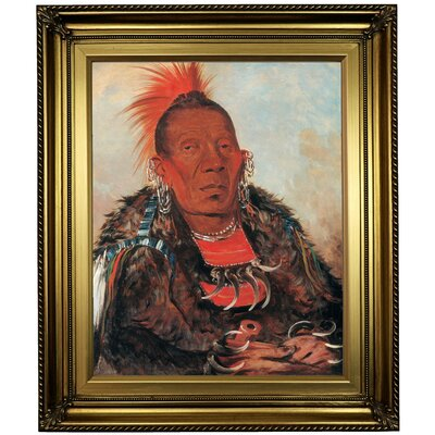 'Wah-ro-noe-sah, the Surrounder, Chief of the Tribe 1832' Framed Oil Painting Print on Canvas Format: Dark Bronze Framed, Size: 26'' H x 22'' W x 1.5'' D