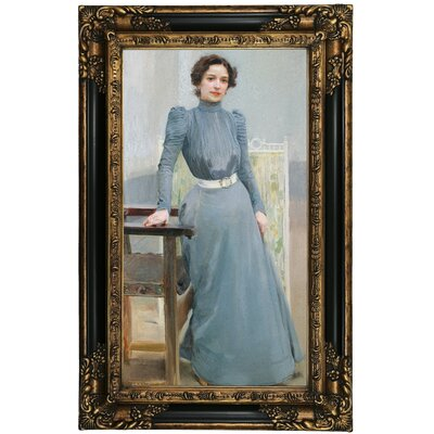 'Portrait of His Wife Clotilde in a Grey Dress 1900' Framed Oil Painting Print on Canvas Format: Black/Gold Framed, Size: 27.25