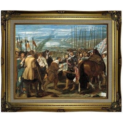 'The Surrender of Breda (The Lances)' Framed Oil Painting Print on Canvas Format: Brown/Gold Framed, Size: 21.25