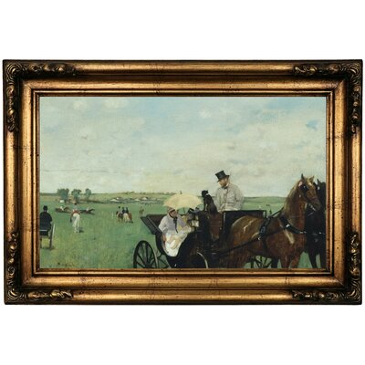 'At the Races in the Countryside 1869' by Edgar Degas Framed Print on Canvas Format: Dark Gold Frame, Size: 16.5