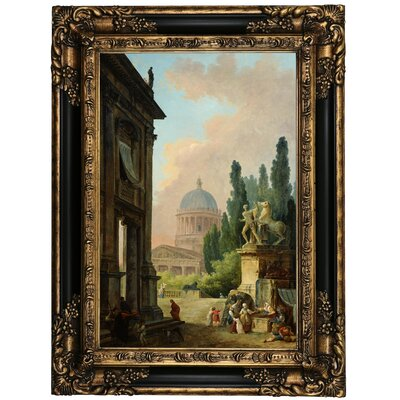 'Imaginary View of Rome with the Horse-Tamer of the Monte Cavallo and a Church 1786' Framed Oil Painting Print on Canvas Format: Black Framed, Size: 23.25
