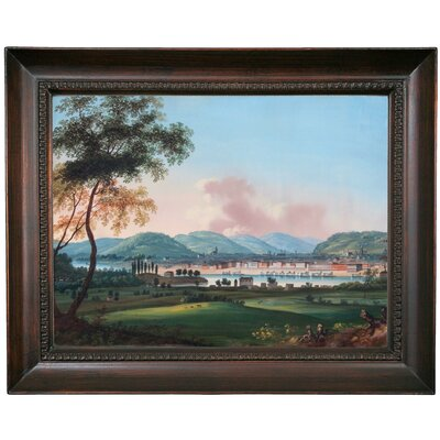 'Cincinnati From Behind Newport Barracks' Framed Oil Painting Print on Canvas Format: Black Framed, Size: 15.5
