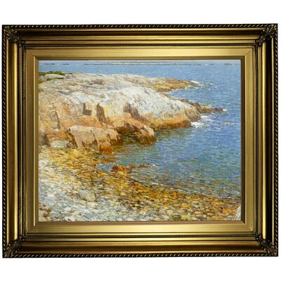 'Isles of Shoals Broad Cove 1911'  Framed Oil Painting Print on Canvas Format: Light Gold Framed, Size: 22