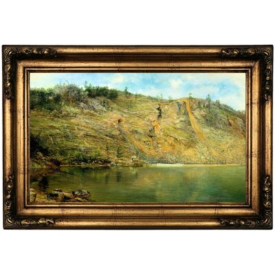 'The Iron Mine, Port Henry, New York 1862' Martin Framed Oil Painting Print on Canvas in Gold Format: Antique Gold Framed, Size: 16.5