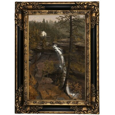 'Kauterskill Falls 1846' Framed Oil Painting Print on Canvas Format: Black/Gold Framed, Size: 23.25