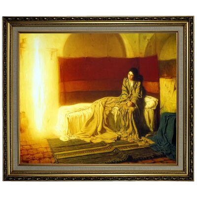 'The Annunciation' Framed Oil Painting Print on Canvas Format: Yellow Framed, Size: 24.15