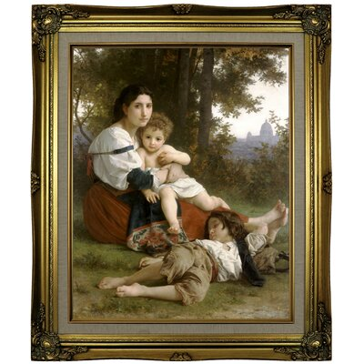 'Le Repos Rest' Framed Oil Painting Print on Canvas Format: Antique Gold Framed, Size: 25.25