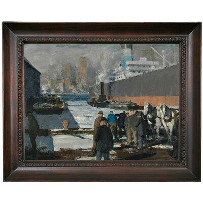 'Men of the Docks 1912' Framed Oil Painting Print on Canvas Format: Dark Gray Framed, Size: 15.5