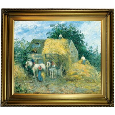 'The Hay Cart; Montfoucault 1879' by Camille Pissarro Framed Oil Painting Print on Canvas Format: Gold Framed, Size: 26