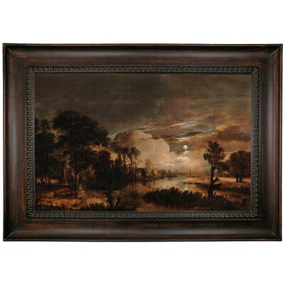 'Moonlit Landscape with a View of the New Amstel River and Castle Kostverloren 1647' Framed Oil Painting Print on Canvas Format: Black Framed, Size: 26