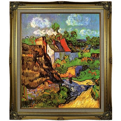 'Houses' Framed Oil Painting Print on Canvas Format: Black Gold Framed, Size: 29.25