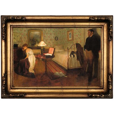 'Interior 1868' by Edgar Degas Framed Oil Painting Print on Canvas Format: Antique Gold Framed, Size: 16.5