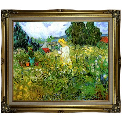 'Marguerite Gachet in the Garden' by Vincent van Gogh Framed Oil Painting Print on Canvas Format: Gray/Gold Framed, Size: 25.25
