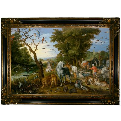 'The Entry of the Animals into Noahs Ark 1613' Framed Oil Painting Print on Canvas Format: Dark Gold Framed, Size: 24.25