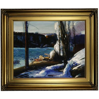'The Palisades 1909' Framed Oil Painting Print on Canvas in Gold Format: Light Gold Framed, Size: 22