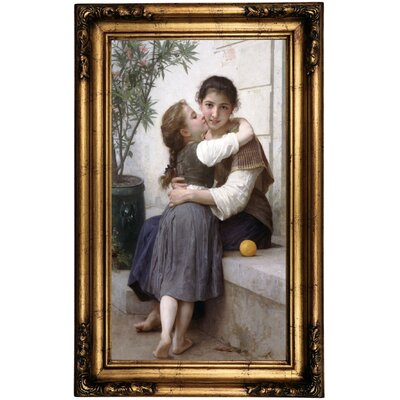 'A Little Coaxing Calinerie' Framed Oil Painting Print on Canvas Format: Gold/Bronze Frame, Size: 26.5