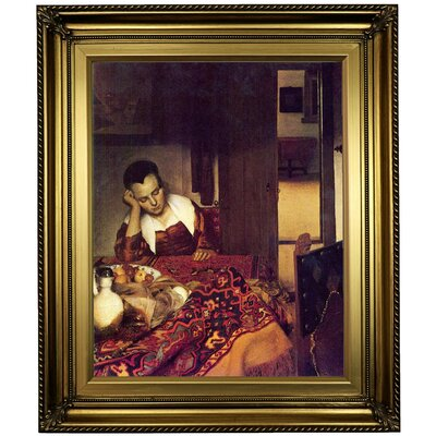 'A women asleep' by Johannes Vermeer Framed Print on Canvas Format: Gold Frame, Size: 26