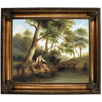 'Man Fishing 1848' Framed Oil Painting Print on Canvas Format: Brown Framed, Size: 26.25