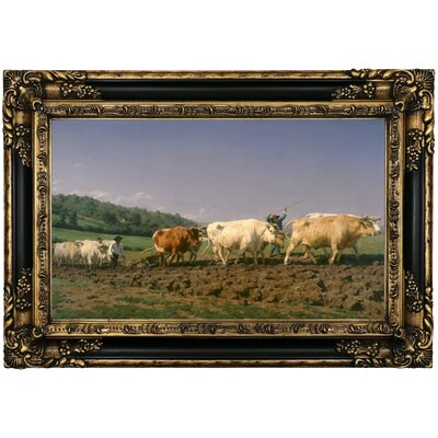 'Ploughing in Nevers 1849' Framed Oil Painting Print on Canvas Format: Black Gold Framed, Size: 17.25