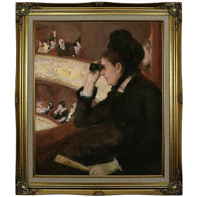 'In the Loge 1878' by Mary Cassatt Framed Oil Painting Print on Canvas Format: Black Gold Framed, Size: 29.25