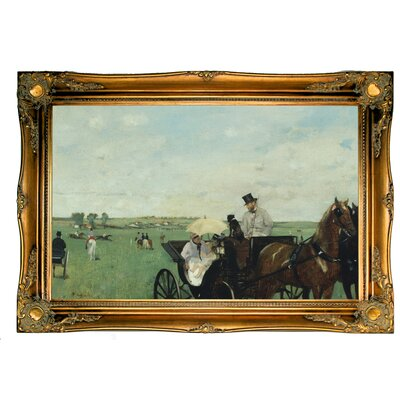 'At the Races in the Countryside 1869' by Edgar Degas Framed Print on Canvas Format: Ornate Gold Frame, Size: 24.5