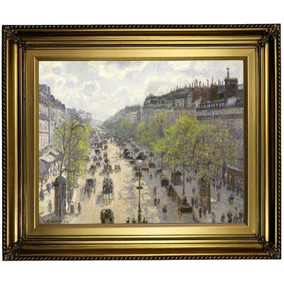'Boulevard Montmartre, Spring 1897' by Camille Pissarro Framed Oil Painting Print on Canvas Format: Light Gold Framed, Size: 22'' H x 26'' W x 1.5'' D
