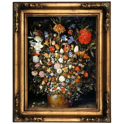 'Flowers' Framed Oil Painting Print on Canvas Format: Old Gold Framed, Size: 20.5