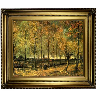 'Lane with Poplars' by Vincent van Gogh Framed Oil Painting Print on Canvas Format: Gold Framed, Size: 22