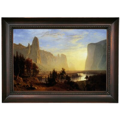 'Yosemite Valley, Yellowstone Park' Framed Oil Painting Print on Canvas in Black Format: Dark Brown Framed, Size: 15.5