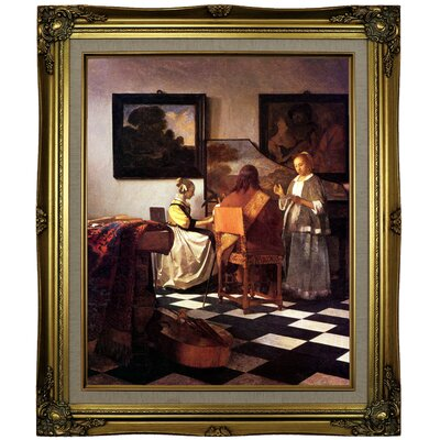 'The Concert Stolen' by Johannes Vermeer Framed Oil Painting Print on Canvas Format: Brown/Gold Framed, Size: 25.25
