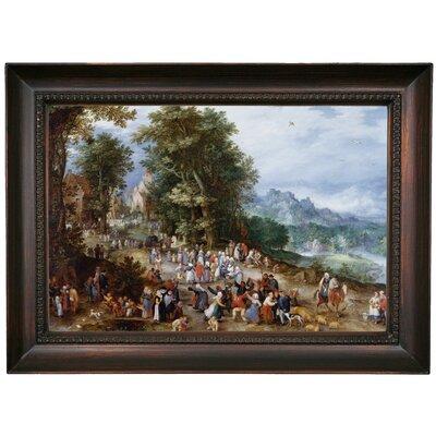 'Flemish Fair 1600' Framed Oil Painting Print on Canvas Format: Dark Brown Framed, Size: 15.5