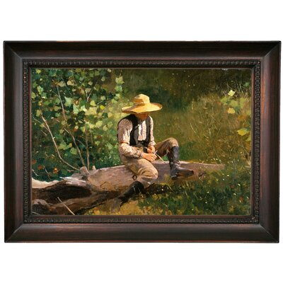 'The Whittling Boy' by Winslow Homer Framed Oil Painting Print on Canvas Format: Dark Brown Framed, Size: 15.5