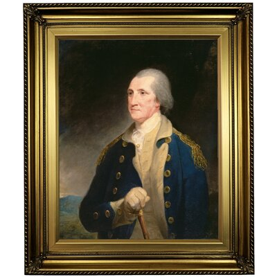 'Portrait of George Washington 1785' Framed Oil Painting Print on Canvas Format: Light Gold Framed, Size: 26