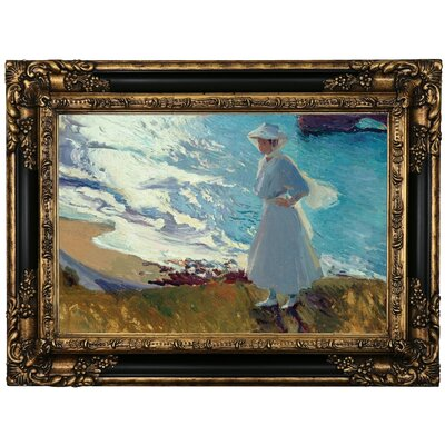 'Maria on the Beach at Biarritz or Contre-jour 1906' Framed Oil Painting Print on Canvas Format: Black/Gold Framed, Size: 17.25