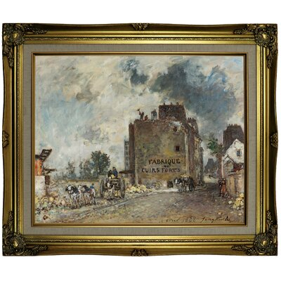 'Demolition work' Framed Oil Painting Print on Canvas Format: Light Brown Framed, Size: 21.25'' H x 25.25'' W x 1.5'' D