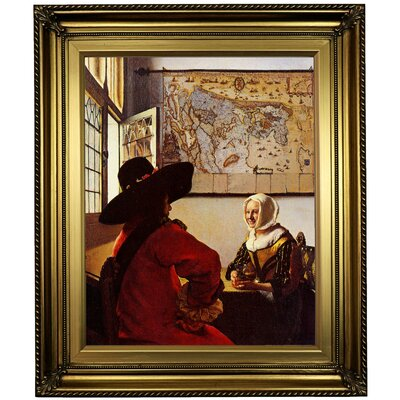 'Officer with a Laughing Girl' by Johannes Vermeer Framed Oil Painting Print on Canvas Format: Light Gold Framed, Size: 26