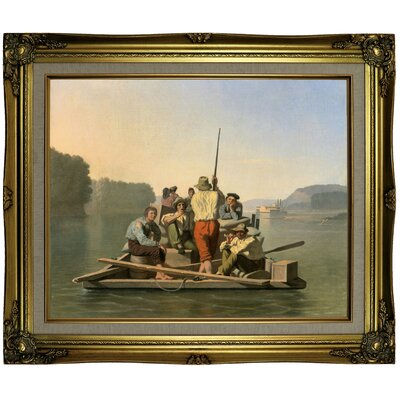 'Lighter Relieving a Steamboat Aground 1847' Framed Oil Painting Print on Canvas Format: Antique Gold Framed, Size: 21.25