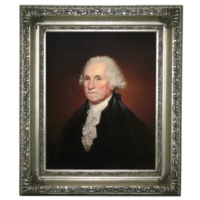 'George Washington 1795' Framed Oil Painting Print on Canvas Format: Silver Framed, Size: 13