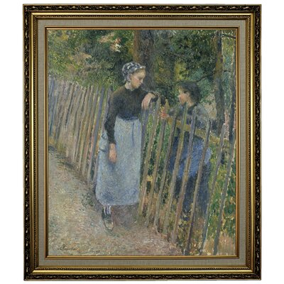 'Conversation 1881' by Camille Pissarro Framed Oil Painting Print on Canvas Format: Black/Silver Framed, Size: 28.15'' H x 24.15'' W x 1.75'' D