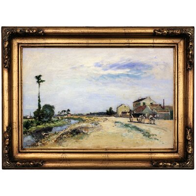 'Little channel along the Seine at Meudon 1865' Framed Oil Painting Print on Canvas Format: Bronze Framed, Size: 16.5