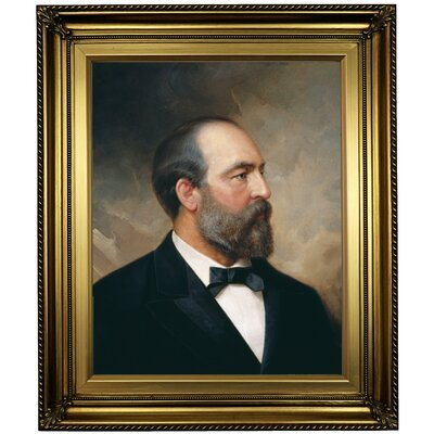 'Portrait of James Garfield; 20th President of the United States 1881' Framed Oil Painting Print on Canvas Format: Light Gold Framed, Size: 26
