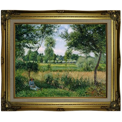 'Morning Sunlight Effect; Eragny 1899' by Camille Pissarro Framed Oil Painting Print on Canvas Format: Brown/Gold Framed, Size: 21.25