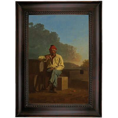'Mississippi Boatman 1850' Framed Oil Painting Print on Canvas Format: Charcoal Framed, Size: 35