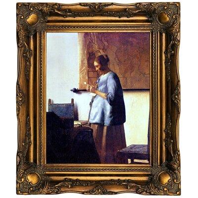 'Women in Blue Reading a Letter' by Johannes Vermeer Framed Oil Painting Print on Canvas Format: Dark Gold Framed, Size: 19.5
