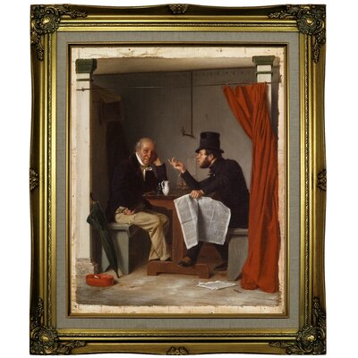 'Politics in an Oyster House 1848' Framed Oil Painting Print on Canvas Format: Brown/Gold Framed, Size: 25.25