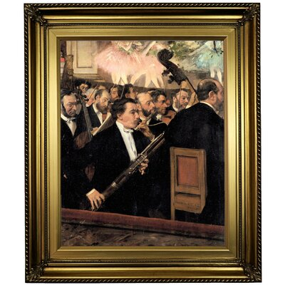 'The Orchestra at the Opera 1870' by Edgar Degas Framed Oil Painting Print on Canvas in Gold Format: Light Gold Framed, Size: 26
